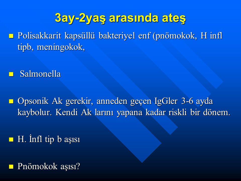 3ay-2yaş arasında ateş Polisakkarit kapsüllü bakteriyel enf (pnömokok, H infl tipb, meningokok, Salmonella.