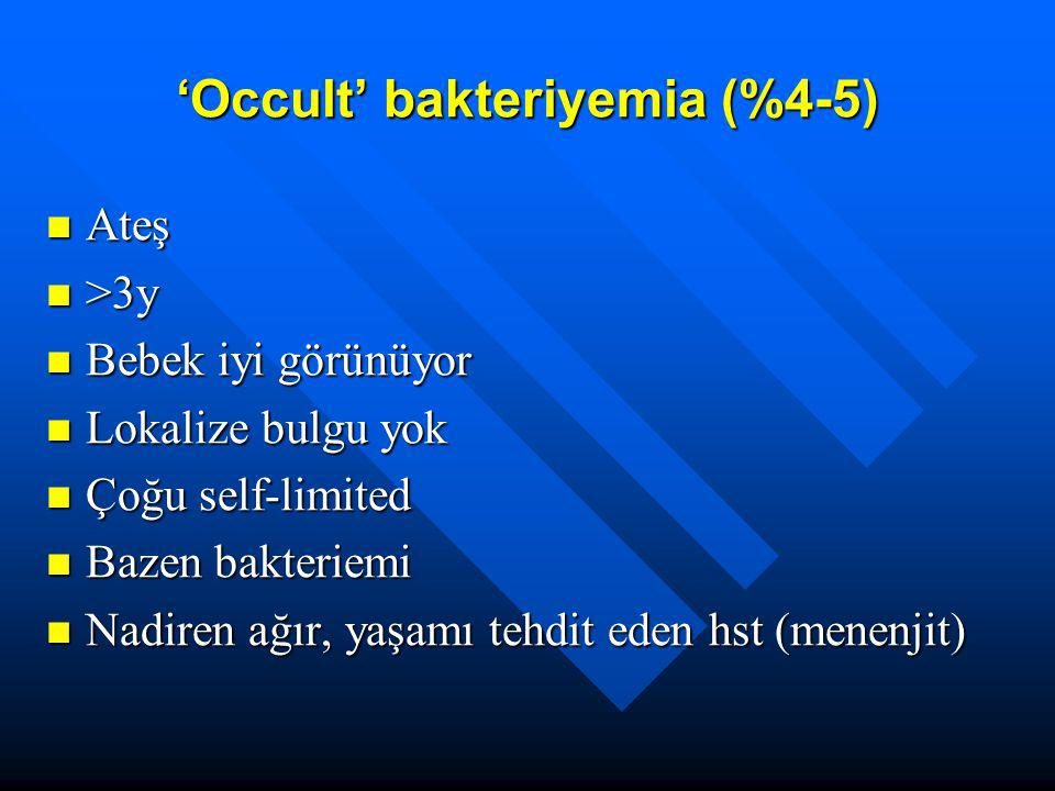 'Occult' bakteriyemia (%4-5)