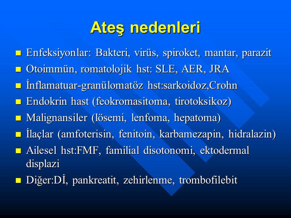 Ateş nedenleri Enfeksiyonlar: Bakteri, virüs, spiroket, mantar, parazit. Otoimmün, romatolojik hst: SLE, AER, JRA.