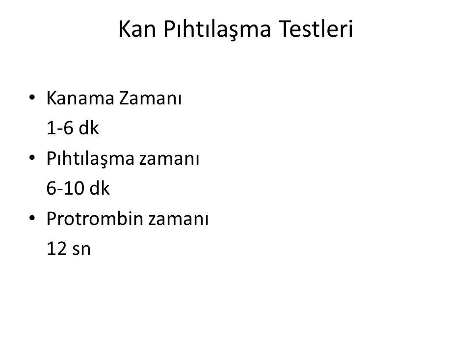 Kan Pıhtılaşma Testleri