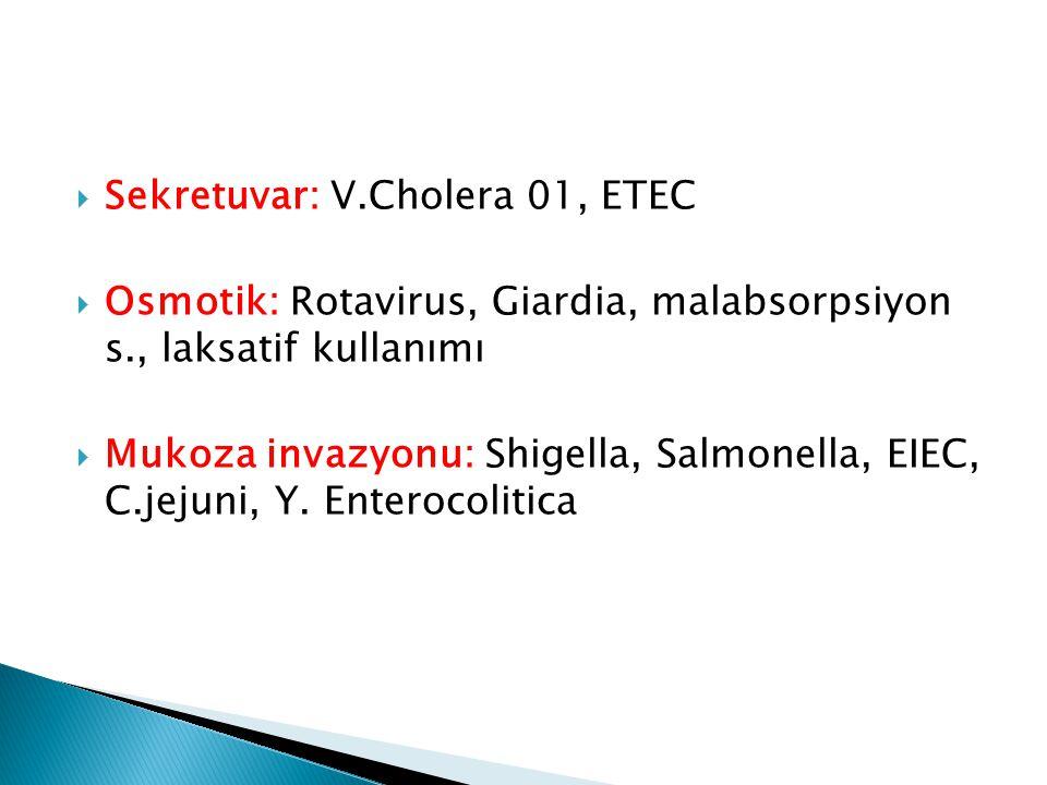 Sekretuvar: V.Cholera 01, ETEC
