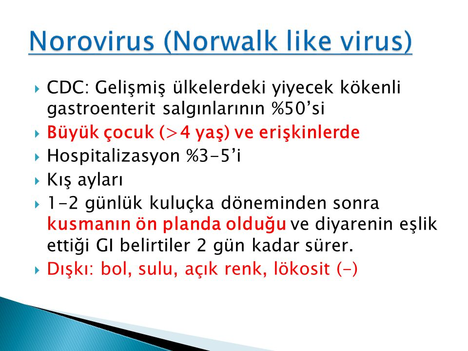 Norovirus (Norwalk like virus)