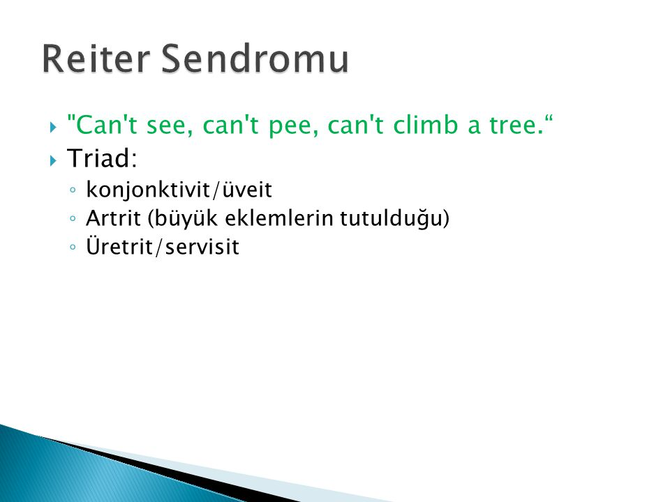 Reiter Sendromu Can t see, can t pee, can t climb a tree. Triad: