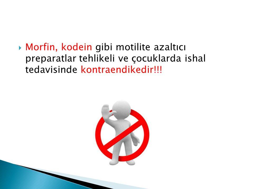 Morfin, kodein gibi motilite azaltıcı preparatlar tehlikeli ve çocuklarda ishal tedavisinde kontraendikedir!!!