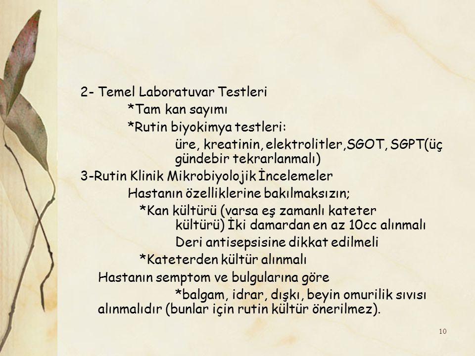 2- Temel Laboratuvar Testleri. Tam kan sayımı