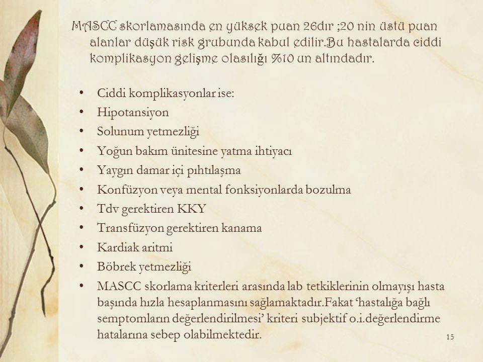 MASCC skorlamasında en yüksek puan 26dır ;20 nin üstü puan alanlar düşük risk grubunda kabul edilir.Bu hastalarda ciddi komplikasyon gelişme olasılığı %10 un altındadır.