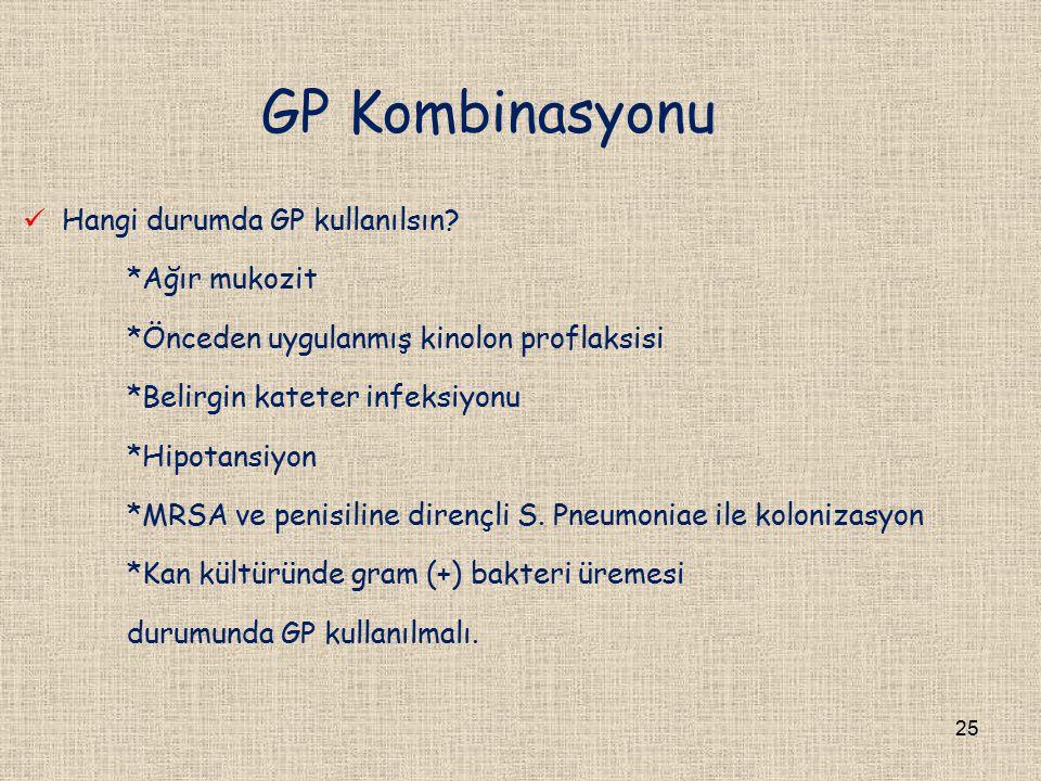 GP Kombinasyonu Hangi durumda GP kullanılsın *Ağır mukozit