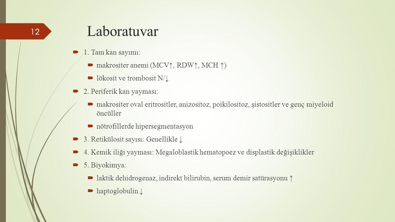 Laboratuvar 1. Tam kan sayımı: makrositer anemi (MCV↑, RDW↑, MCH ↑)