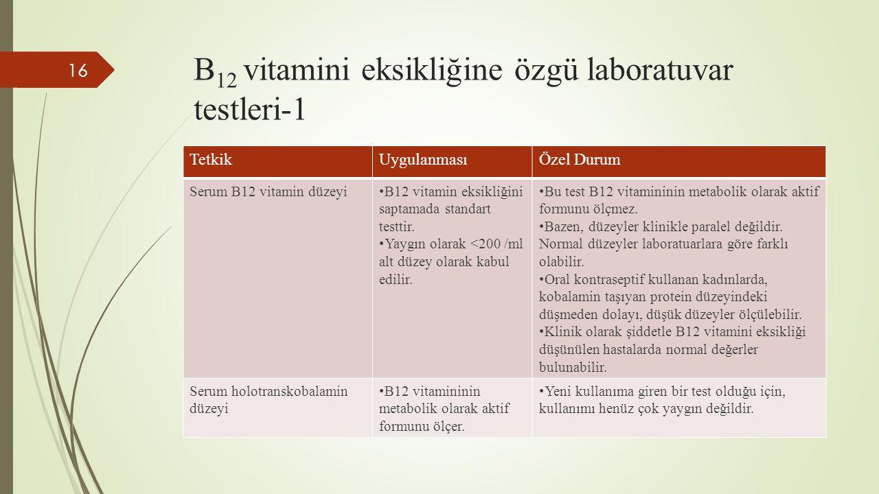 B12 vitamini eksikliğine özgü laboratuvar testleri-1