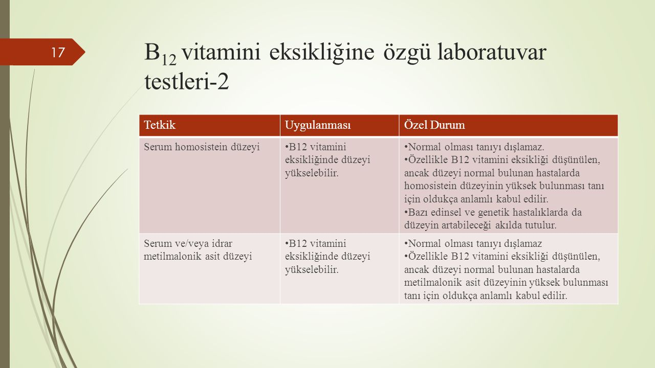 B12 vitamini eksikliğine özgü laboratuvar testleri-2