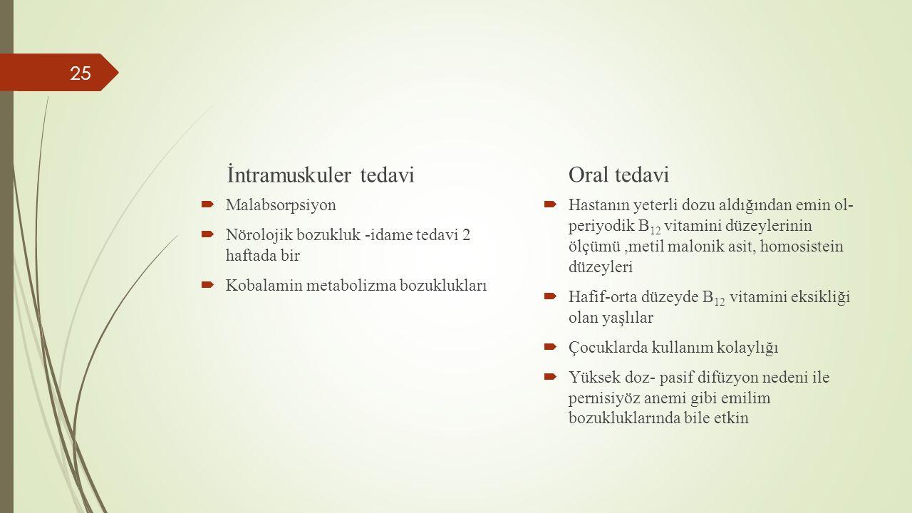 İntramuskuler tedavi Oral tedavi Malabsorpsiyon