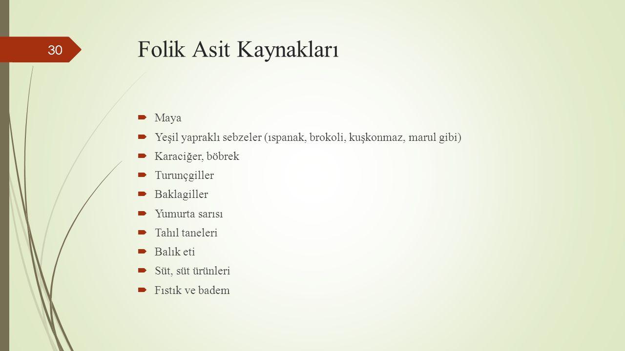 Folik Asit Kaynakları Maya