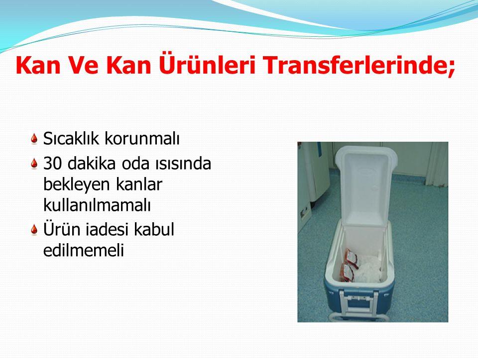 Kan Ve Kan Ürünleri Transferlerinde;