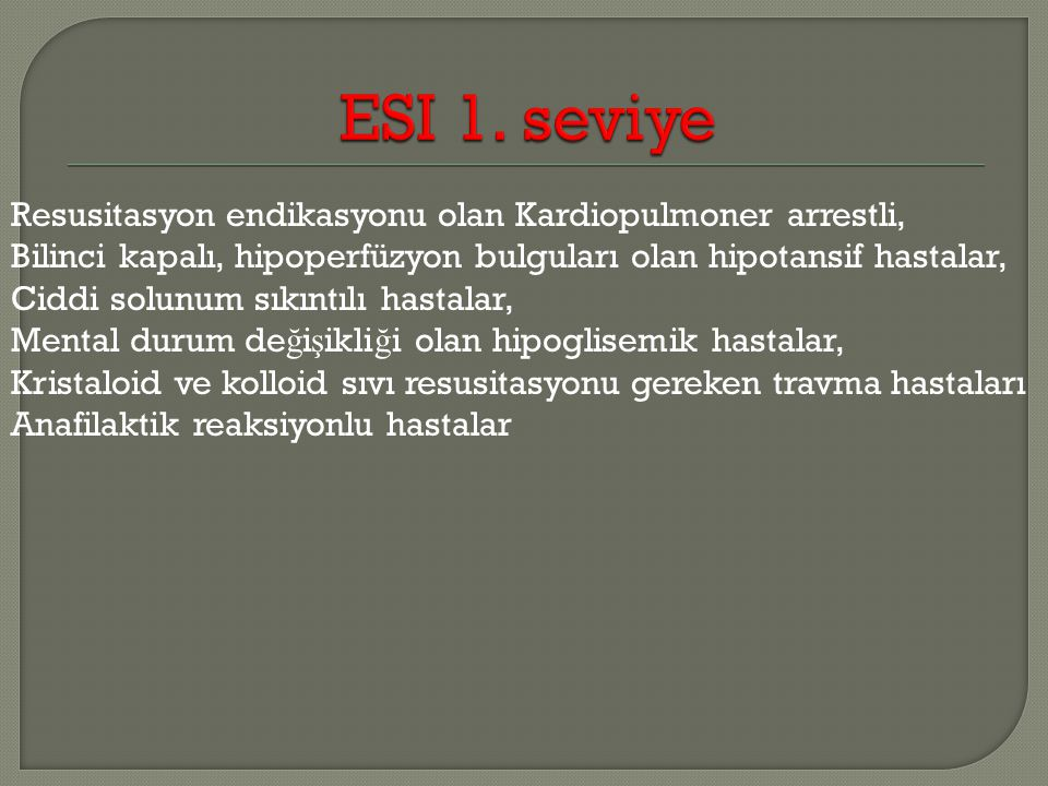ESI 1. seviye