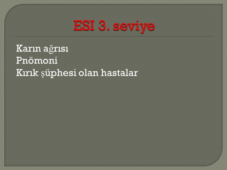 ESI 3. seviye Karın ağrısı Pnömoni Kırık şüphesi olan hastalar