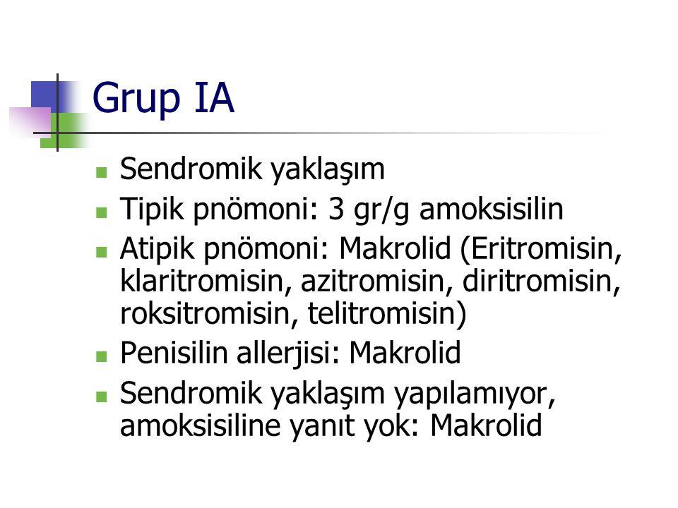 Grup IA Sendromik yaklaşım Tipik pnömoni: 3 gr/g amoksisilin