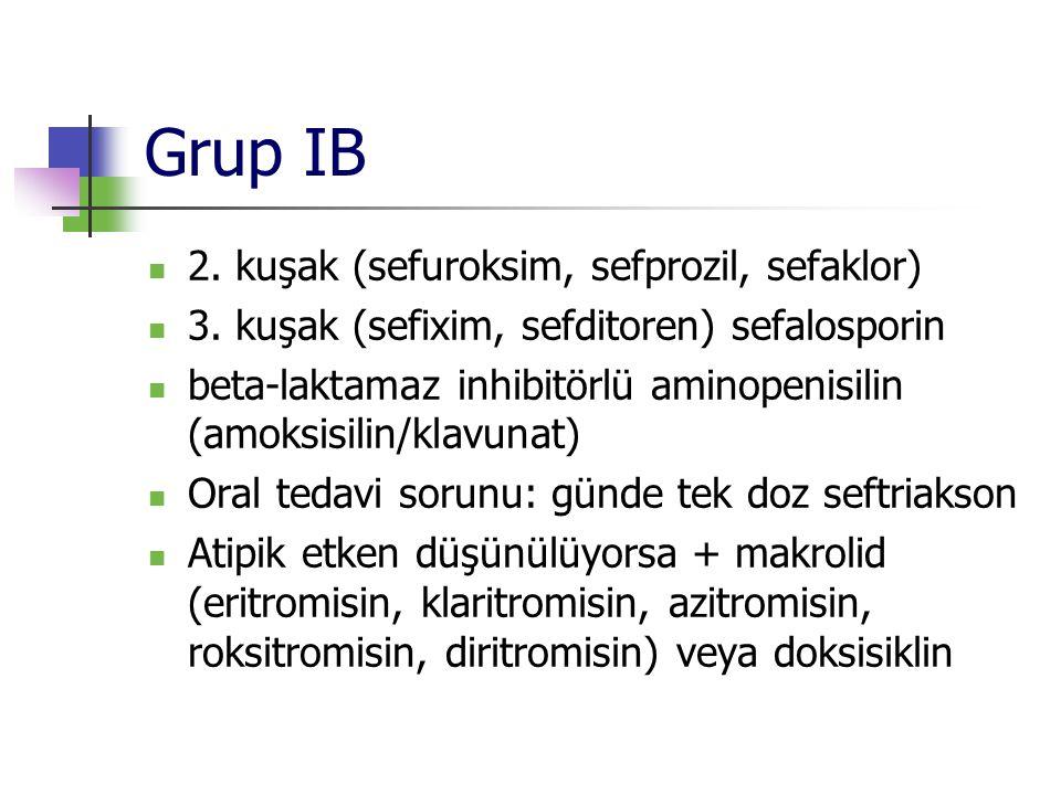 Grup IB 2. kuşak (sefuroksim, sefprozil, sefaklor)