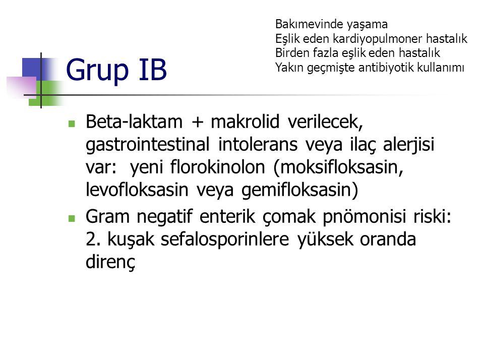 Grup IB Bakımevinde yaşama. Eşlik eden kardiyopulmoner hastalık. Birden fazla eşlik eden hastalık.