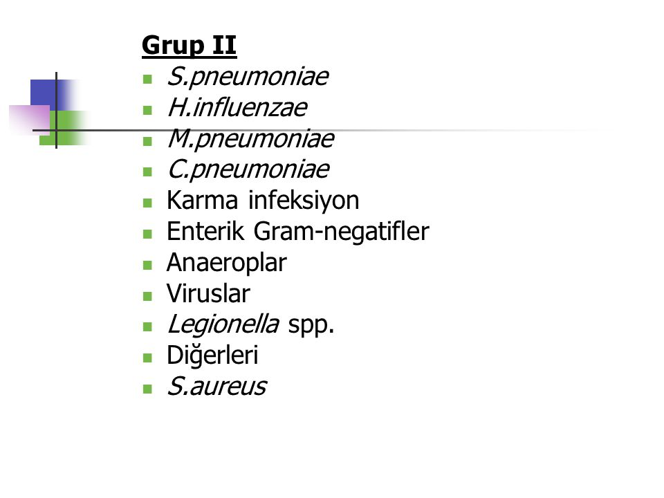 Grup II S.pneumoniae. H.influenzae. M.pneumoniae. C.pneumoniae. Karma infeksiyon. Enterik Gram-negatifler.