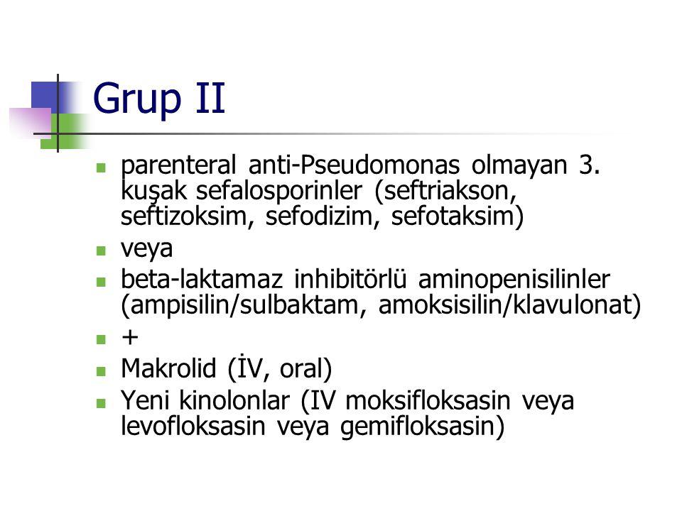 Grup II parenteral anti-Pseudomonas olmayan 3. kuşak sefalosporinler (seftriakson, seftizoksim, sefodizim, sefotaksim)