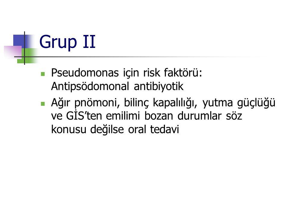 Grup II Pseudomonas için risk faktörü: Antipsödomonal antibiyotik