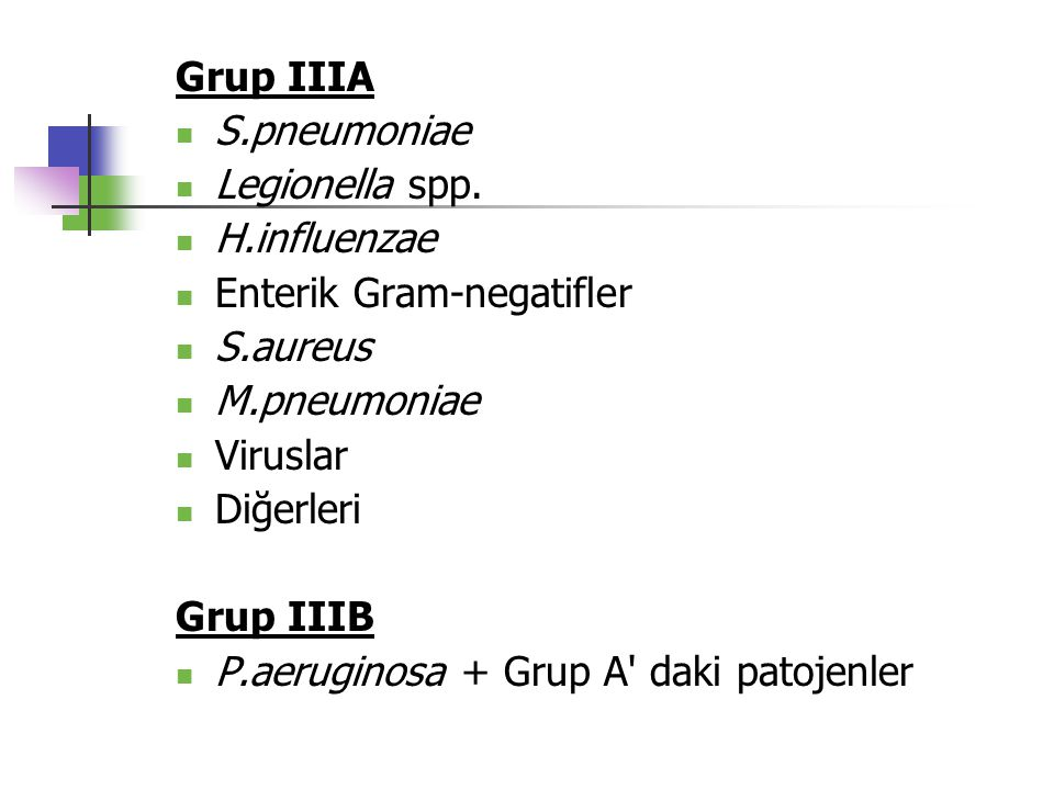 Grup IIIA S.pneumoniae. Legionella spp. H.influenzae. Enterik Gram-negatifler. S.aureus. M.pneumoniae.
