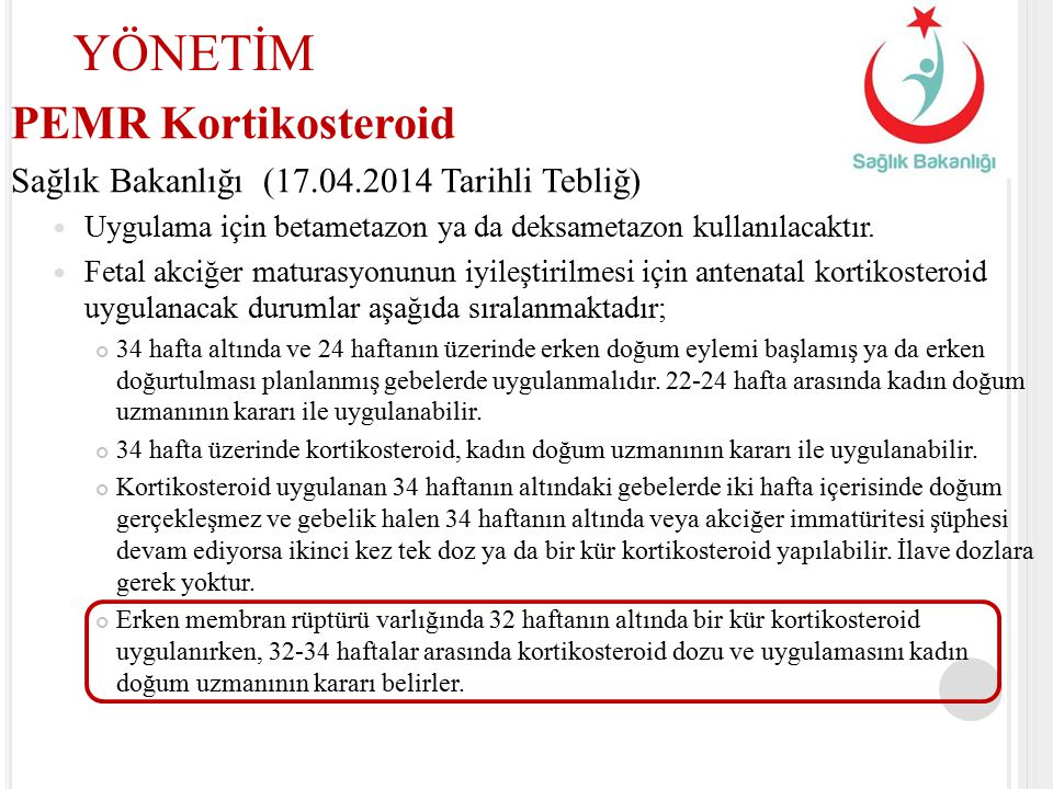 YÖNETİM PEMR Kortikosteroid
