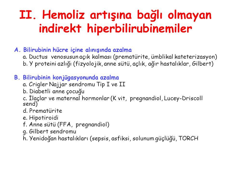 II. Hemoliz artışına bağlı olmayan indirekt hiperbilirubinemiler