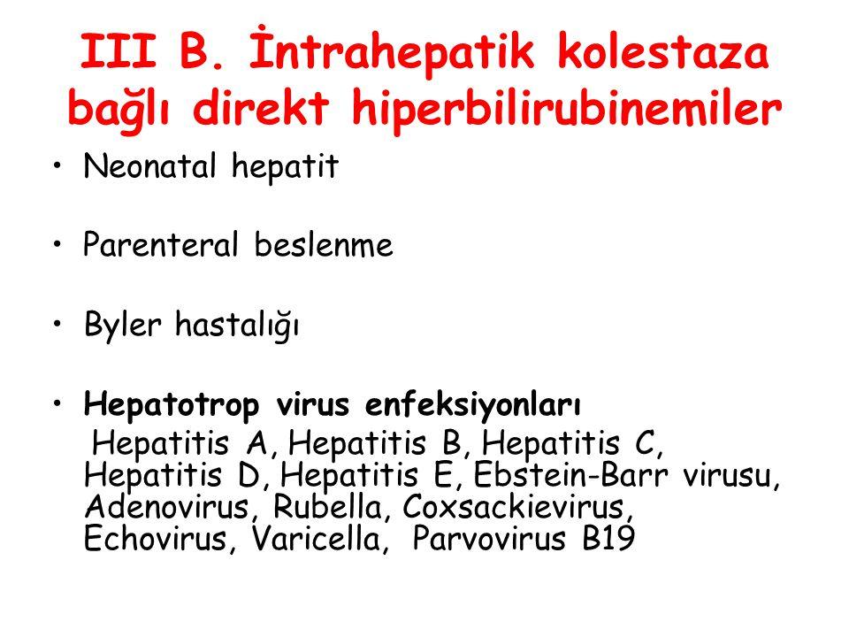 III B. İntrahepatik kolestaza bağlı direkt hiperbilirubinemiler