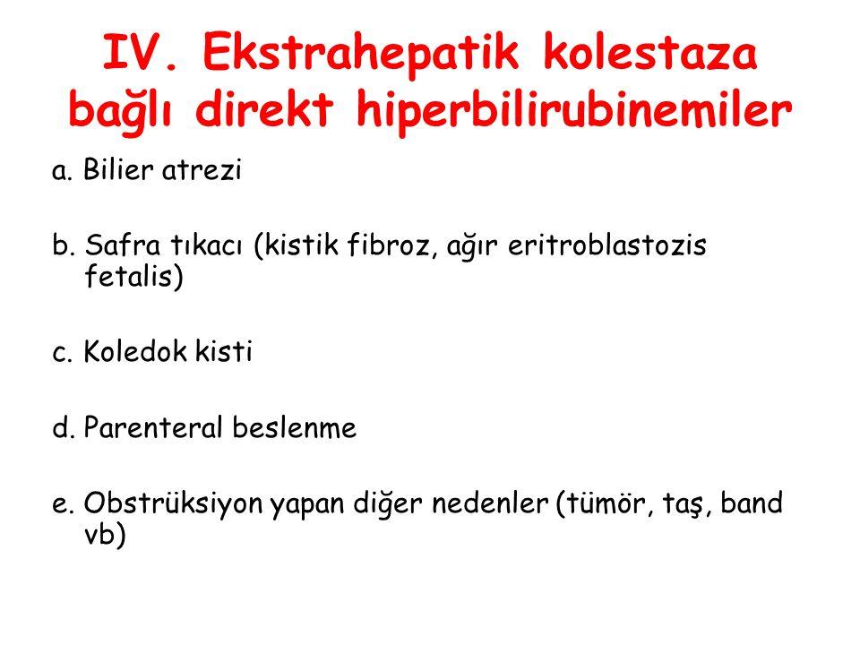 IV. Ekstrahepatik kolestaza bağlı direkt hiperbilirubinemiler