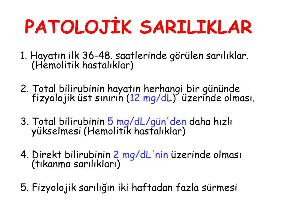 PATOLOJİK SARILIKLAR 1. Hayatın ilk 36-48. saatlerinde görülen sarılıklar. (Hemolitik hastalıklar)