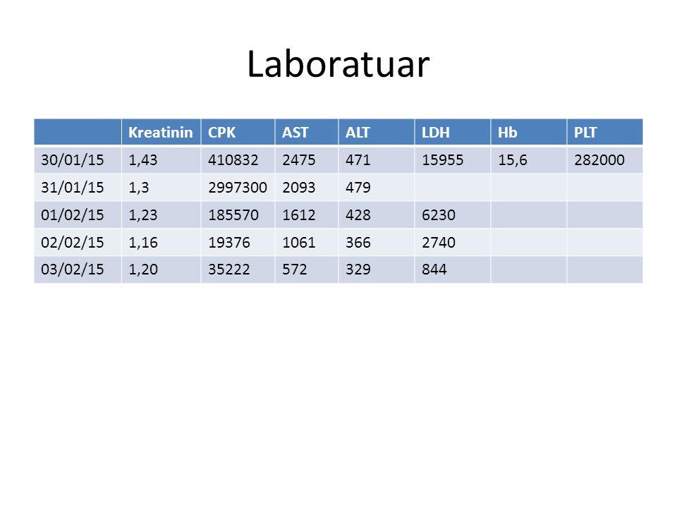 Laboratuar Kreatinin CPK AST ALT LDH Hb PLT 30/01/15 1,43 410832 2475