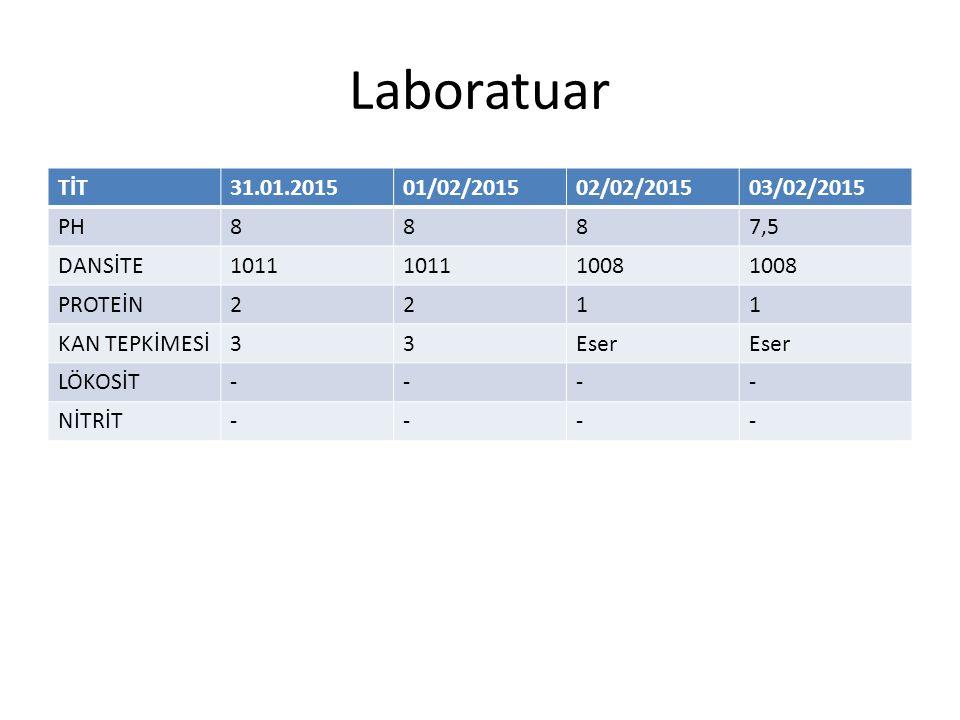 Laboratuar TİT 31.01.2015 01/02/2015 02/02/2015 03/02/2015 PH 8 7,5