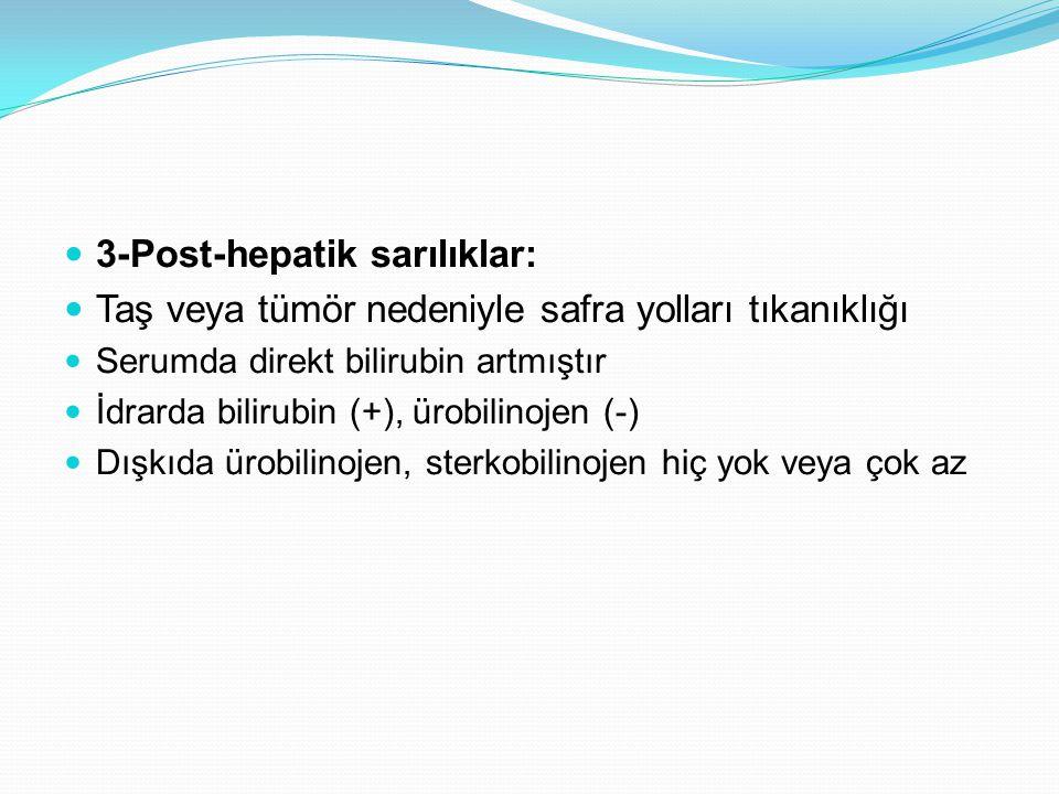 3-Post-hepatik sarılıklar: