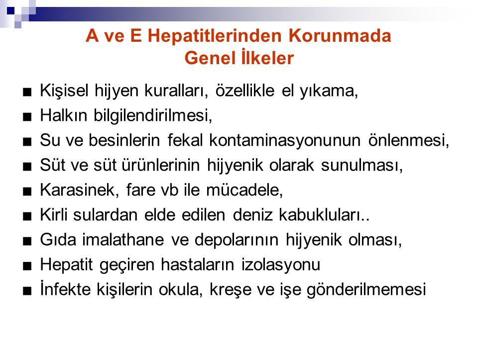 A ve E Hepatitlerinden Korunmada Genel İlkeler