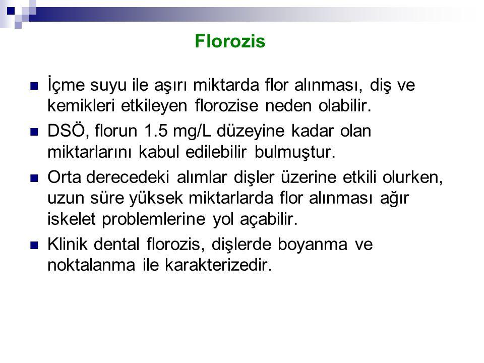 Florozis İçme suyu ile aşırı miktarda flor alınması, diş ve kemikleri etkileyen florozise neden olabilir.