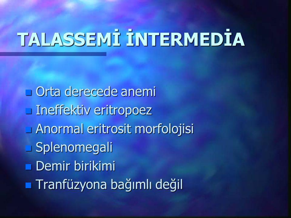 TALASSEMİ İNTERMEDİA Orta derecede anemi Ineffektiv eritropoez