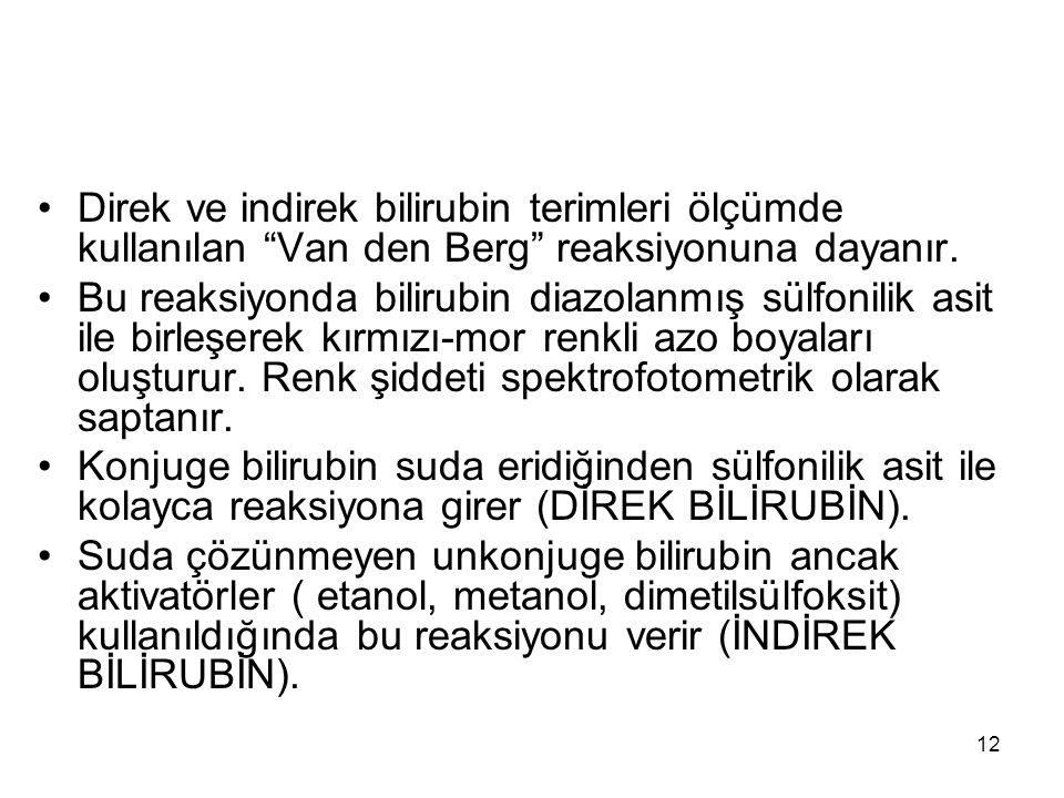 Direk ve indirek bilirubin terimleri ölçümde kullanılan Van den Berg reaksiyonuna dayanır.