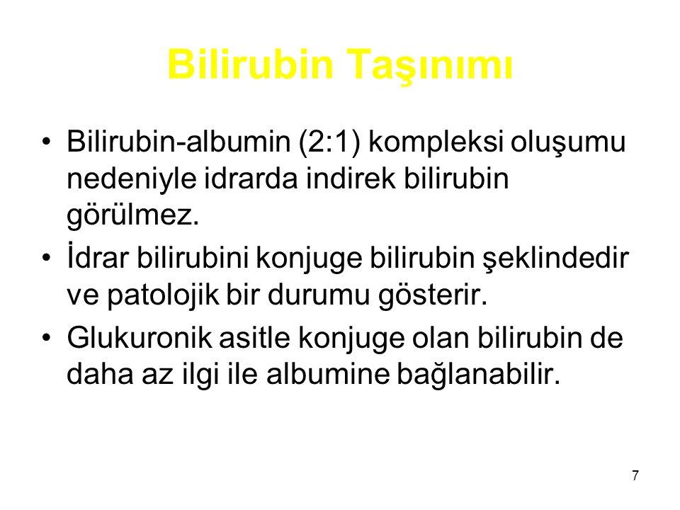 Bilirubin Taşınımı Bilirubin-albumin (2:1) kompleksi oluşumu nedeniyle idrarda indirek bilirubin görülmez.