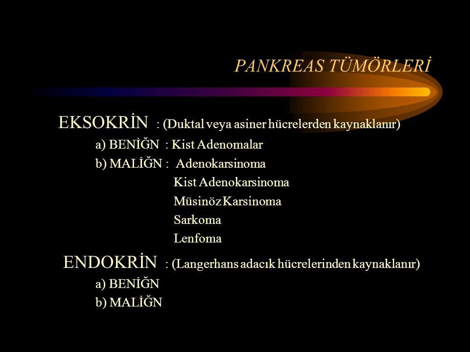 EKSOKRİN : (Duktal veya asiner hücrelerden kaynaklanır)