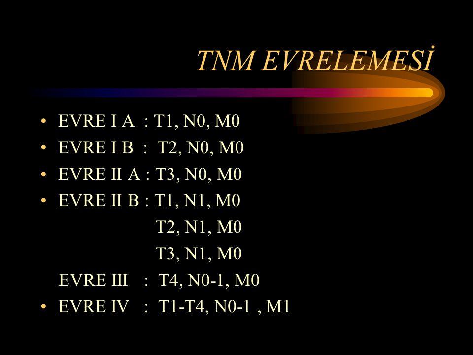 TNM EVRELEMESİ EVRE I A : T1, N0, M0 EVRE I B : T2, N0, M0