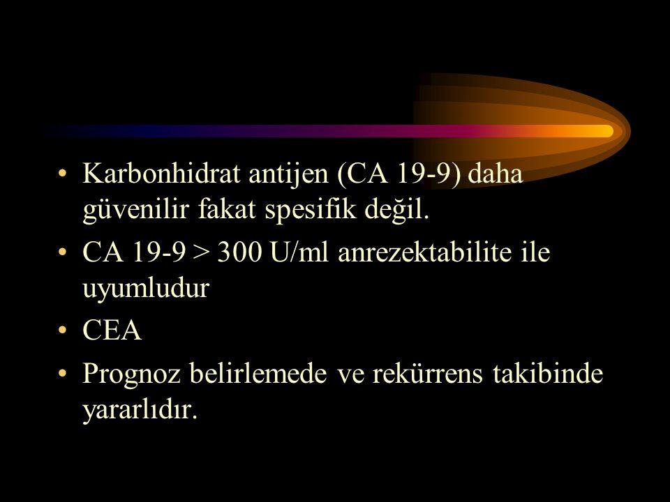 Karbonhidrat antijen (CA 19-9) daha güvenilir fakat spesifik değil.
