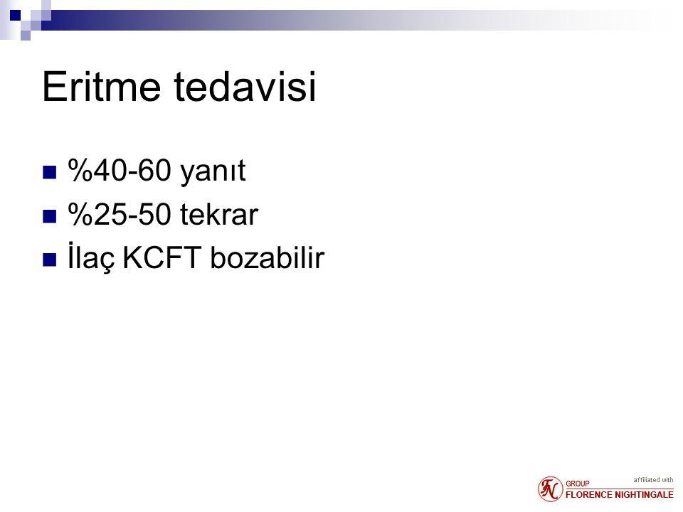 Eritme tedavisi %40-60 yanıt %25-50 tekrar İlaç KCFT bozabilir