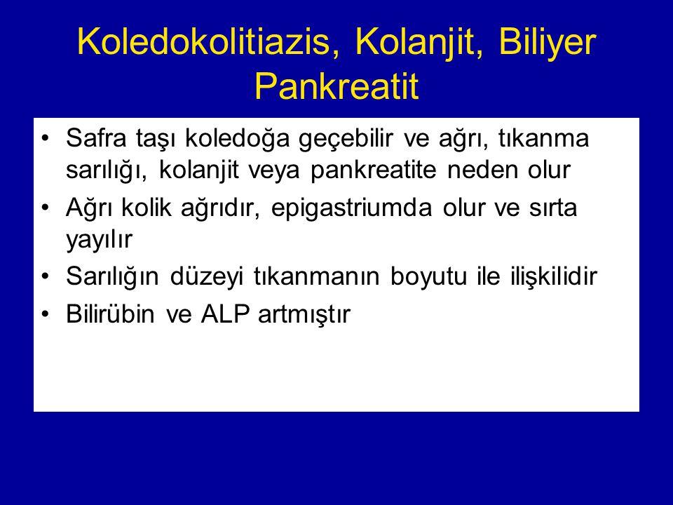 Koledokolitiazis, Kolanjit, Biliyer Pankreatit