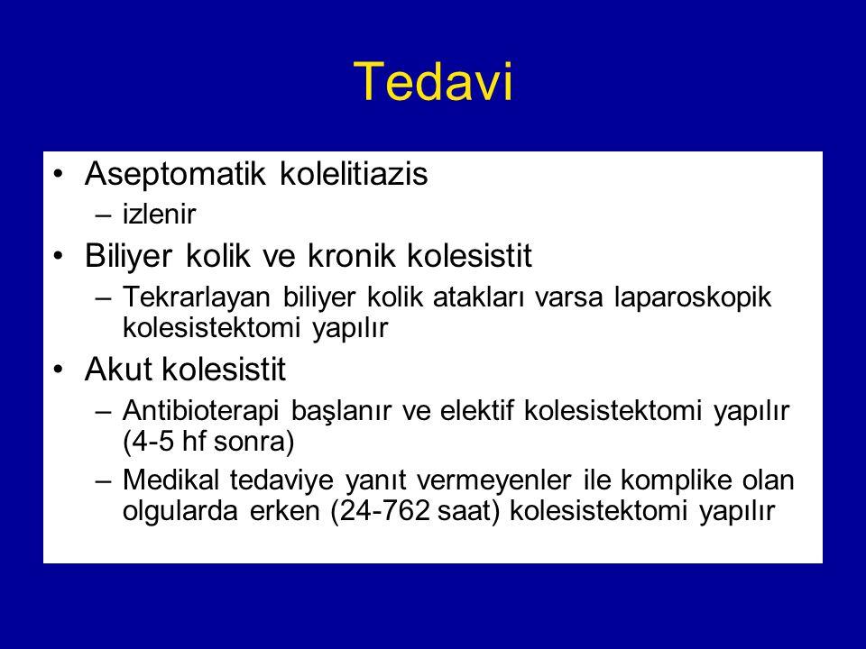 Tedavi Aseptomatik kolelitiazis Biliyer kolik ve kronik kolesistit