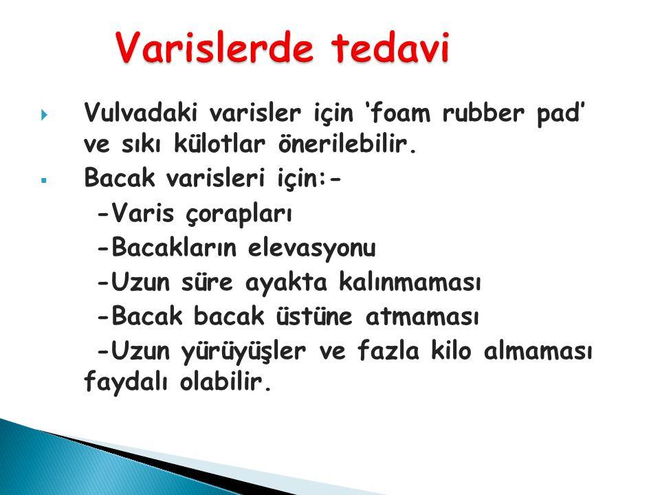 Varislerde tedavi Vulvadaki varisler için 'foam rubber pad' ve sıkı külotlar önerilebilir. Bacak varisleri için:-