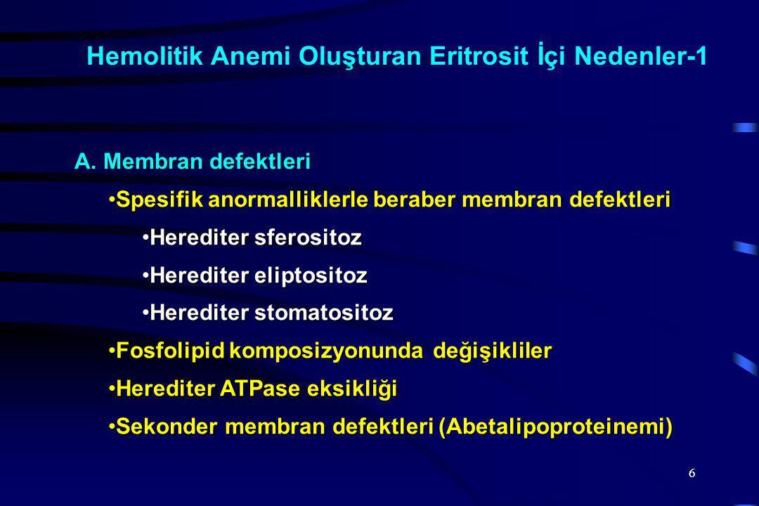 Hemolitik Anemi Oluşturan Eritrosit İçi Nedenler-1