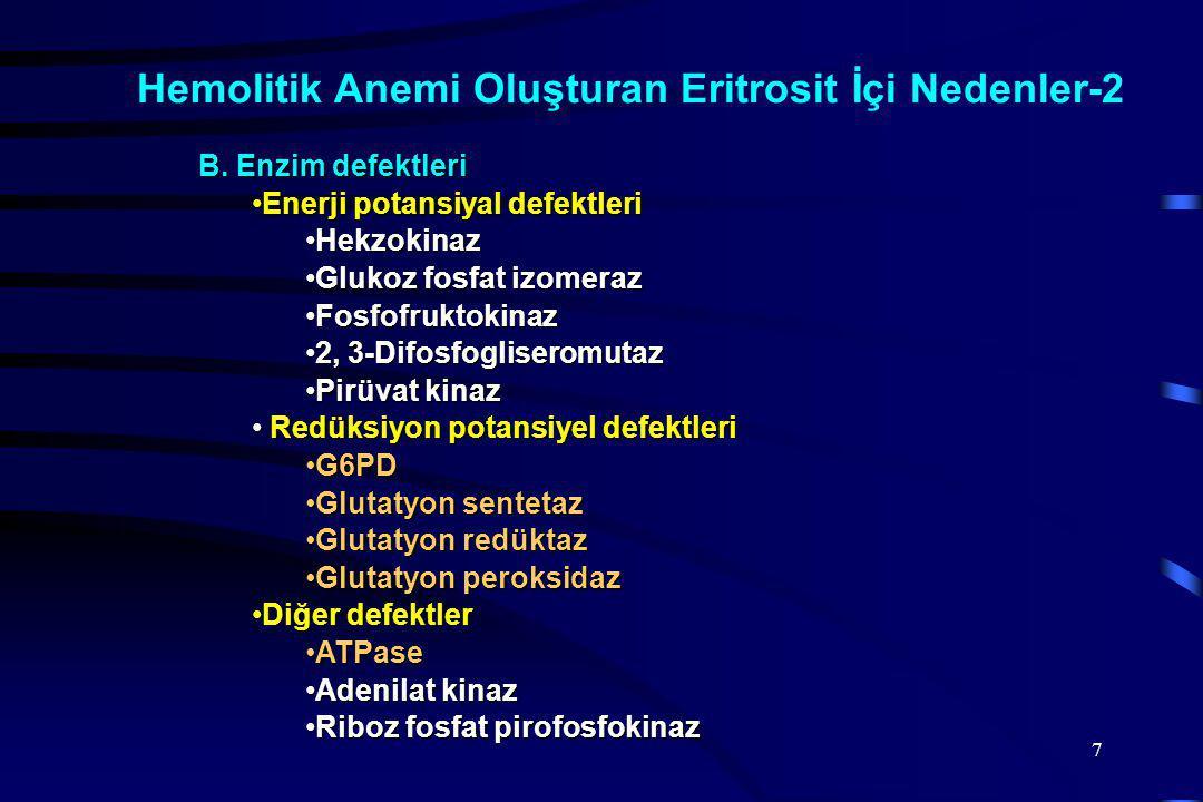 Hemolitik Anemi Oluşturan Eritrosit İçi Nedenler-2