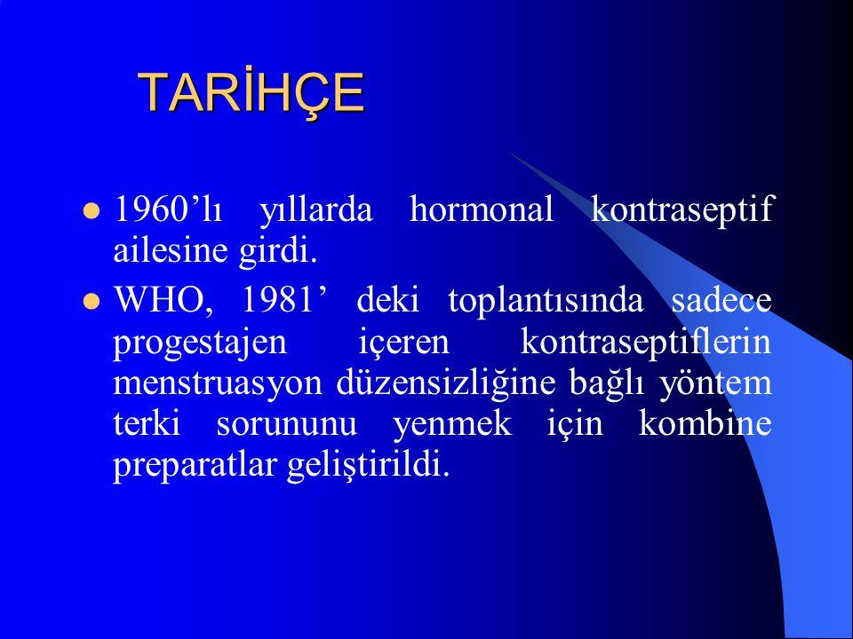TARİHÇE 1960'lı yıllarda hormonal kontraseptif ailesine girdi.