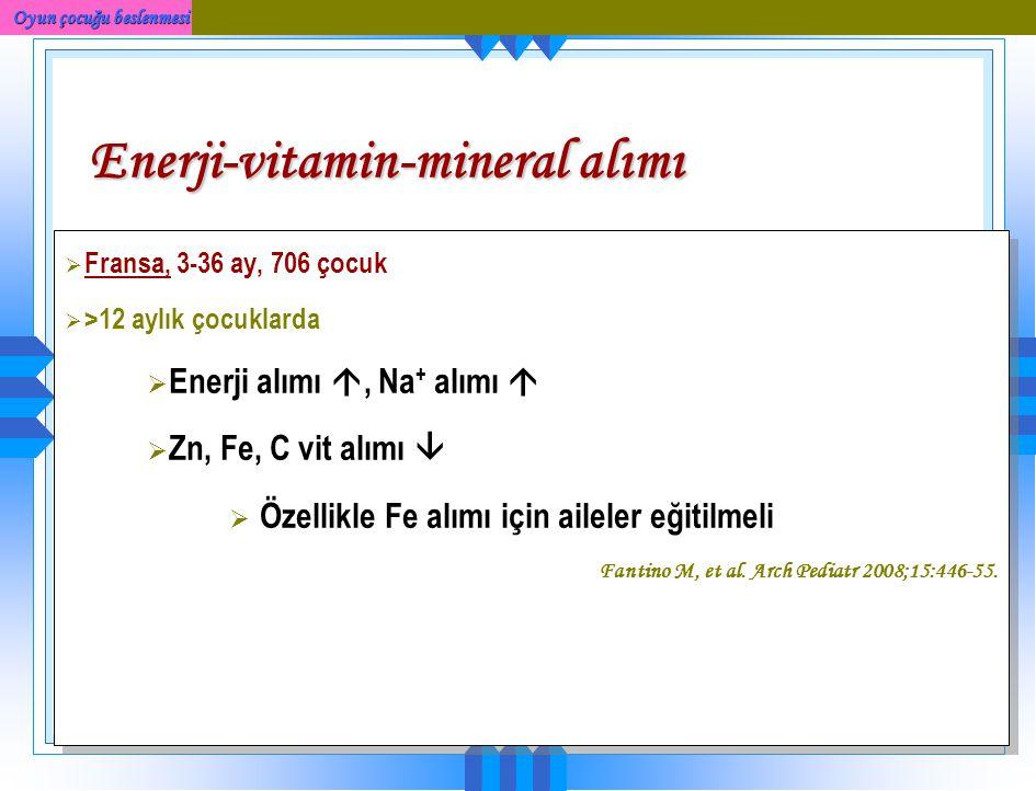 Enerji-vitamin-mineral alımı